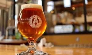 Glass of beer on bartop
