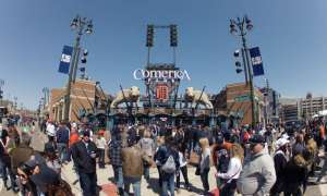 opening day comerica park fans outside the gates