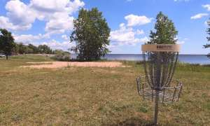 disc golf set up by the great lake