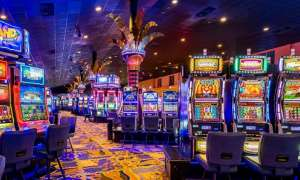 rows of multi colored slot machines