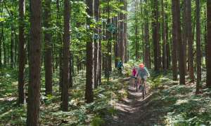 riding bikes on the trail in the Manistee Forest