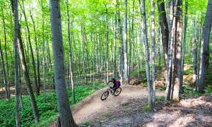 biker in gear on trails in the woods