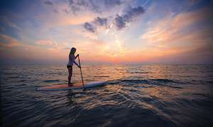 Evening paddle board on Lake Michigan.