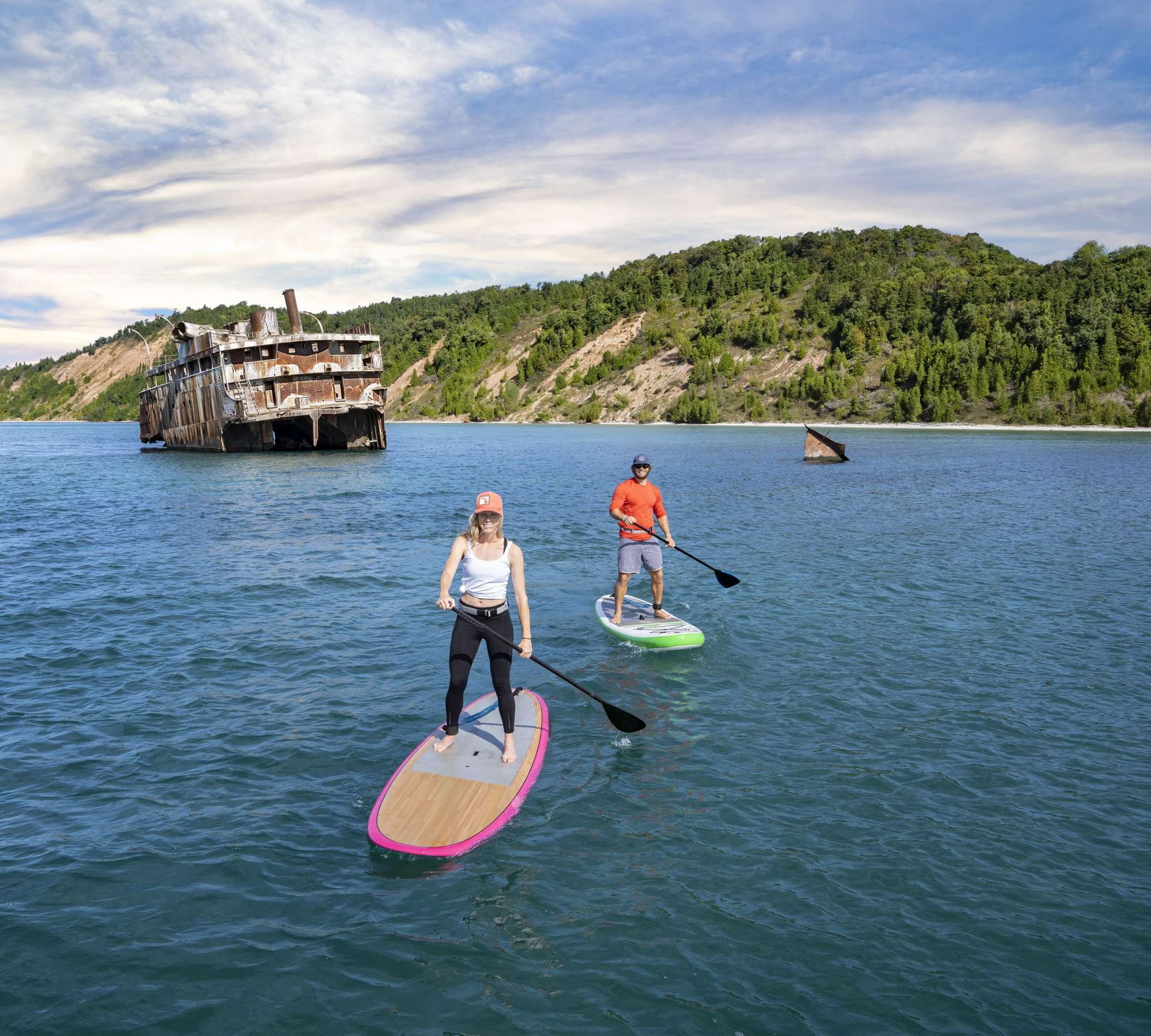 Paddle boarders near shipwreck by South Manitou Island