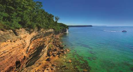 Pictured Rocks cliffs over Lake Superior