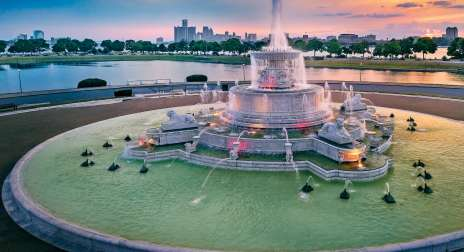 Fountain at Belle Isle near Detroit skyline.