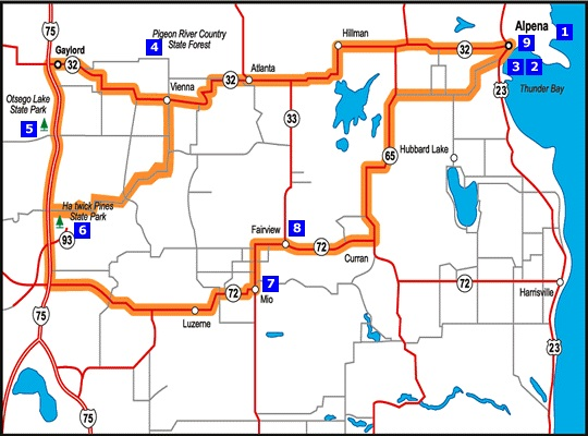 Thunder Bay Michigan Map.Alpena Gaylord Mio Michigan