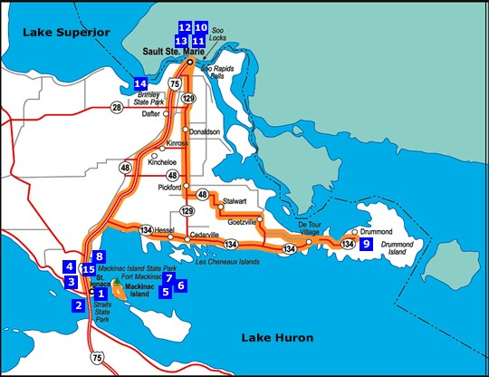 Sault Sainte Marie - Drummond Island - Hessel   Michigan on douglas island map, fairfield island map, mackinac island map, darby island map, edward island map, great lakes map, rose island map, neebish island map, clover island map, watson island map, wilson island map, lake island map, fiordland island map, new brunswick island map, bad axe map, smith island map, hall island map, canton island map, dollar bay map, baker island map,