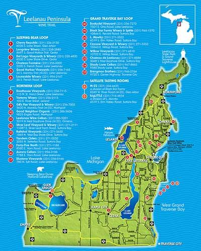 Sutton Bay Michigan Map.Leelanau Peninsula Wine Trail Michigan