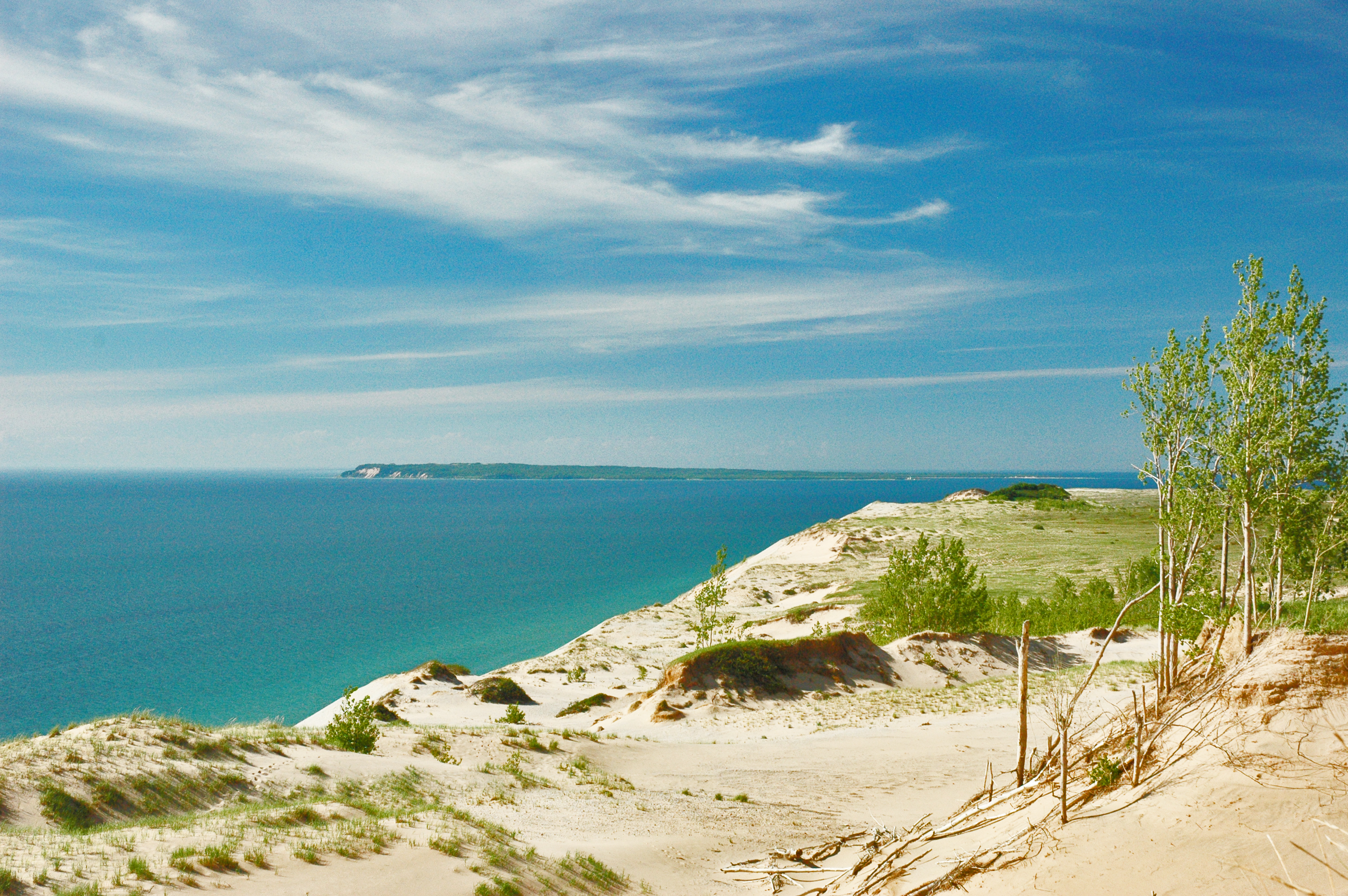 Sleeping Bear Dunes overlooking water