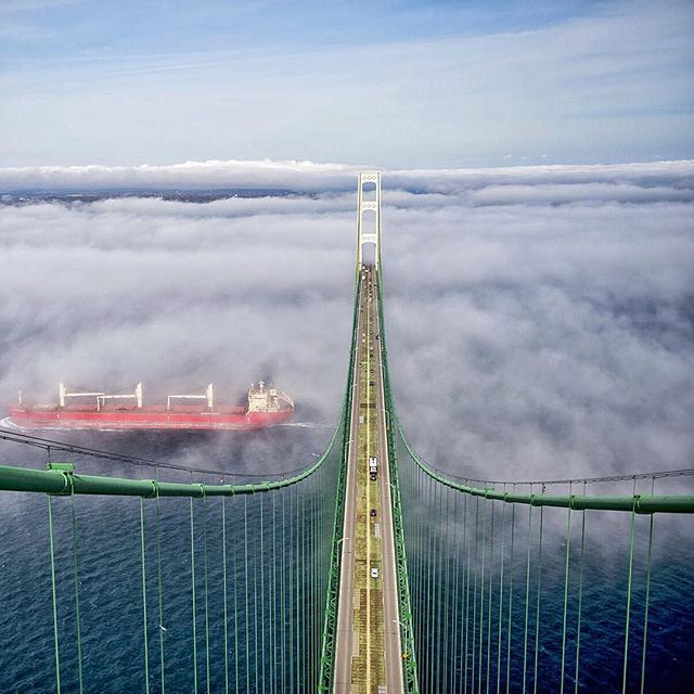 The top of the Mackinac Bridge