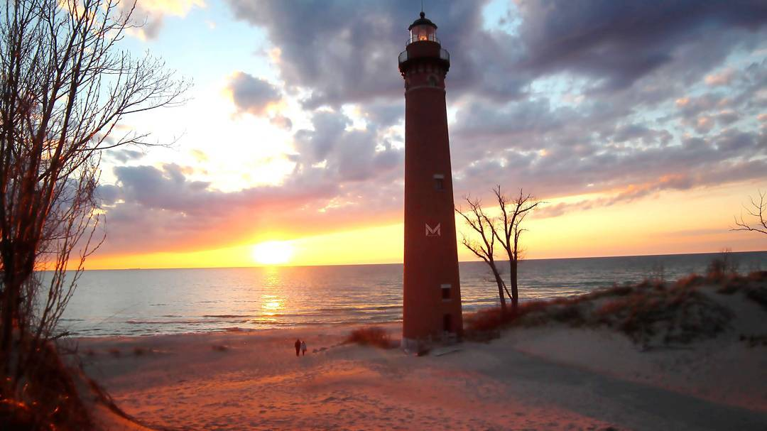sunset at little sable lighthouse