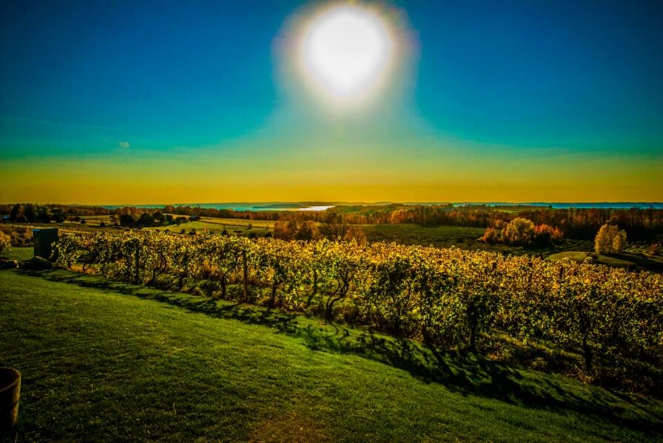 Sunset over Chateau Chantal Winery in Traverse City