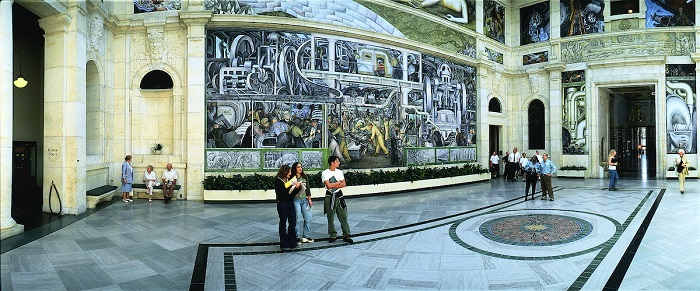 Diego Rivera painting at the Detroit Institute of Arts