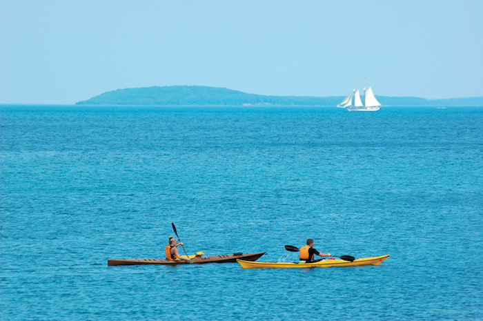 Kayakers on Grand Traverse Bay