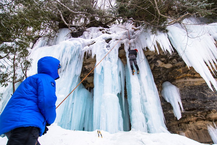 Ice Climbing at Michigan Ice Fest in Munising