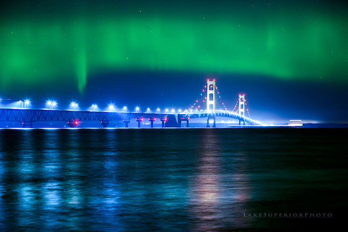 Northern Lights Over The Mackinac Bridge