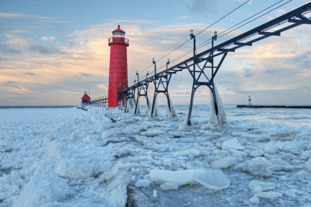 Frozen Lighthouse in Grand Haven