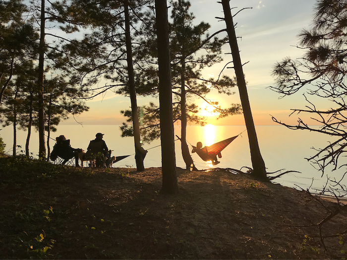 Hammocking at sunset on Pictured Rocks National Lakeshore