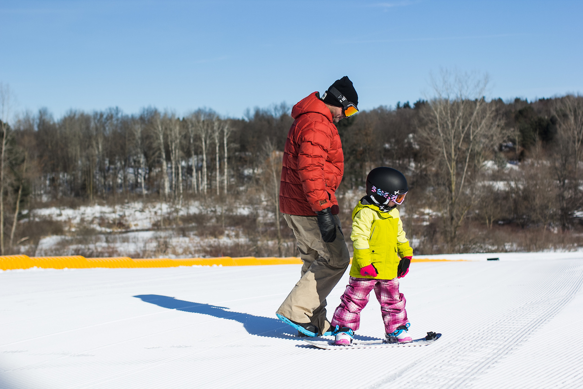 Learning to snowboard at Cannonsburg Ski Area
