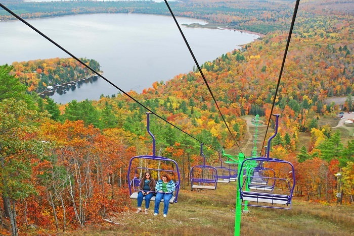 Mount Bohemia chairlift in the fall