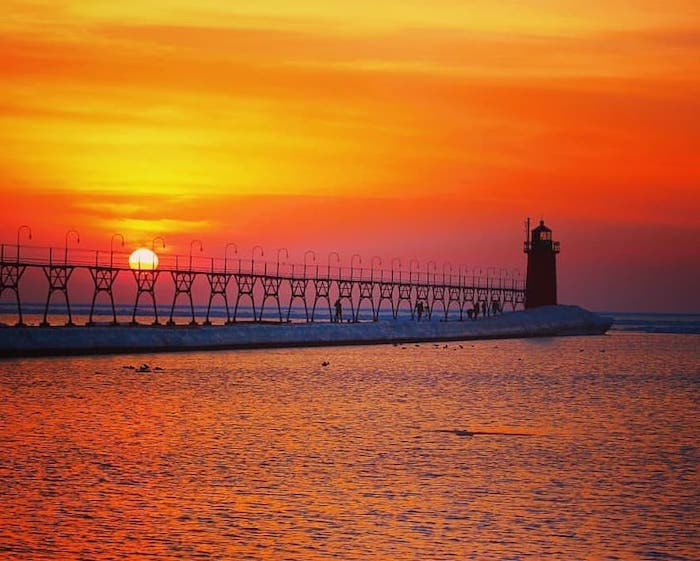 South Haven Light at sunset