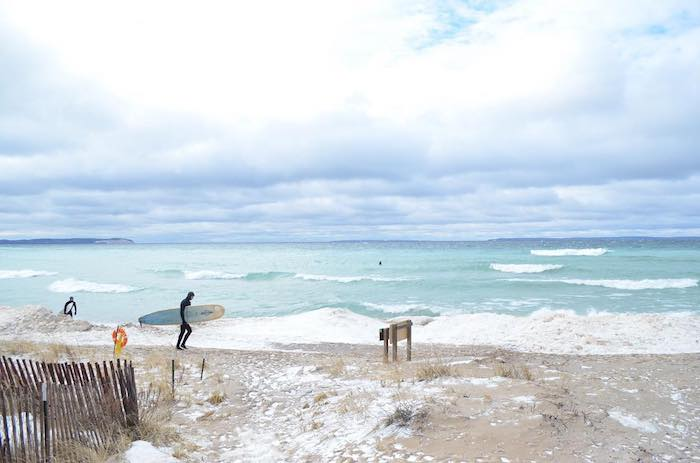 Winter surfing on Lake Michigan