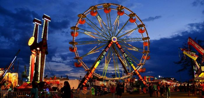 Ferris wheel and carnival rides at UP State Faire