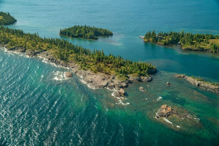 Aerial view of Isle Royale on Lake Superior