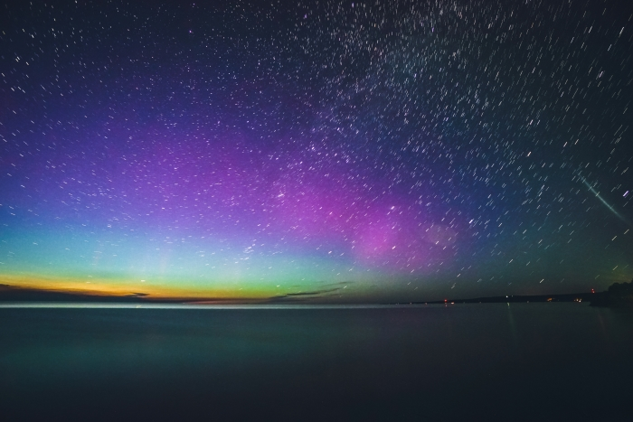 The Northern lights over Lake Superior