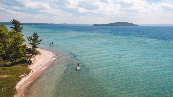 Paddleboarding on Grand Traverse Bay