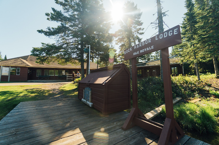 Entrance to Rock Harbor Lodge on Isle Royale