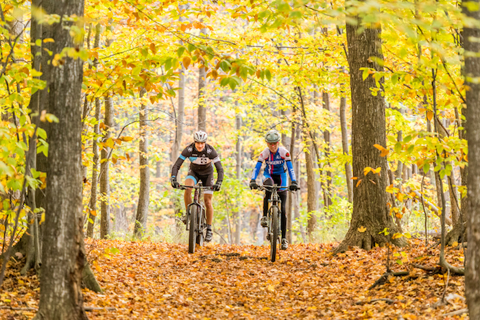 Bikers on fall trail in Traverse City area