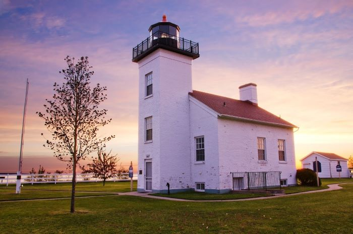 Sand Point Lighthouse in Escanaba at sunset