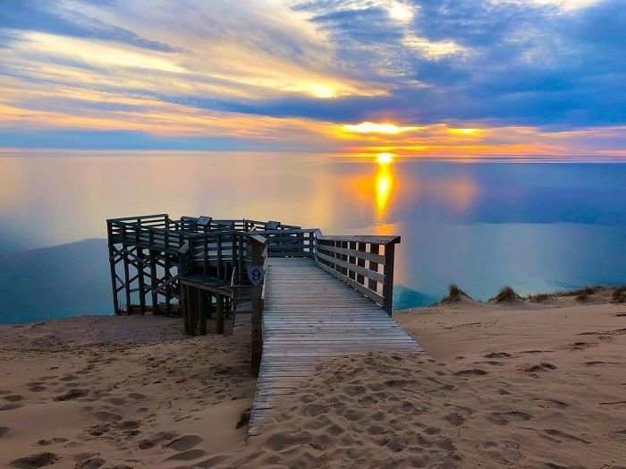 Lookout #9 over Sleeping Bear Dunes at sunset