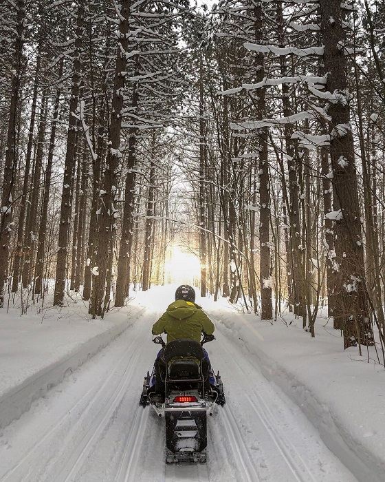 Snowmobiling on Trail 71-717 Out of Pellston