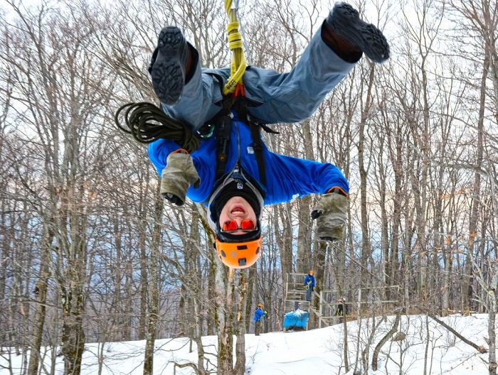 Winter zipline at Boyne Highlands