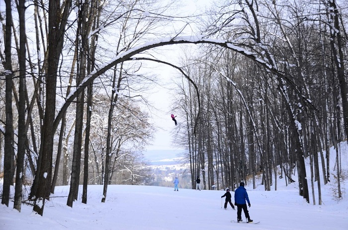 Winter zipline Boyne Mountain
