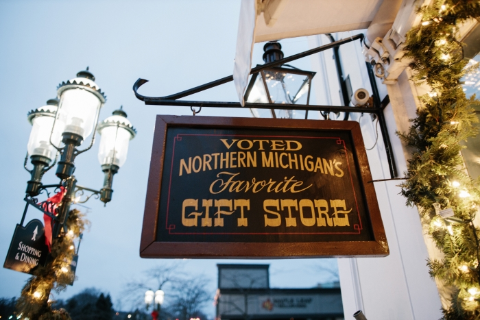 "Sign outside Grandpa Shorter's that reads ""voted Northern Michigan's Favorite Gift Store"""