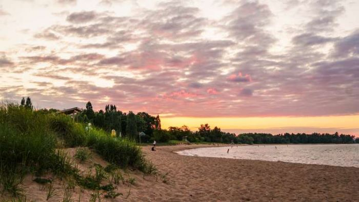 Beach at sunset on Lake Superior