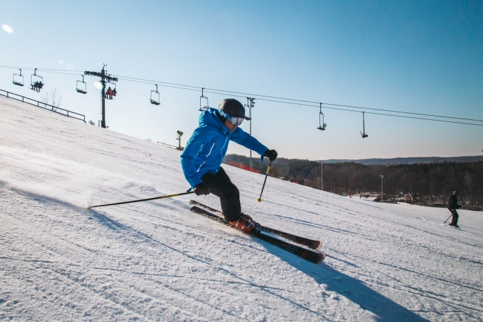 Downhill skier at Cannonsburg Ski Area