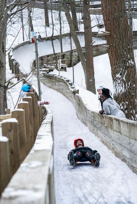 Child traveling down luge track.