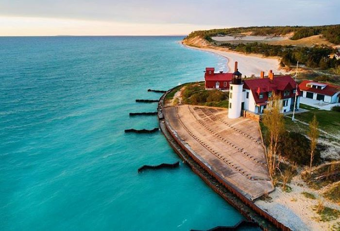 Point Betsie Lighthouse on shore of Lake Michigan