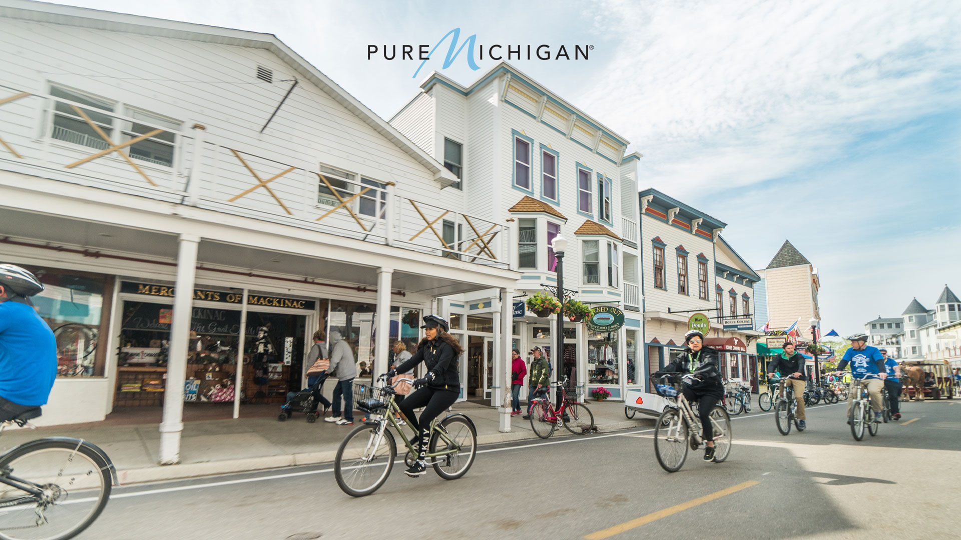 People on bicycles downtown on Mackinac Island