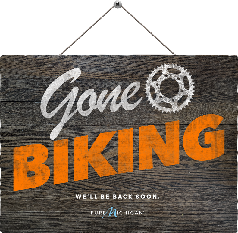 "Graphic design that reads ""Gone Biking. We'll be back soon."""