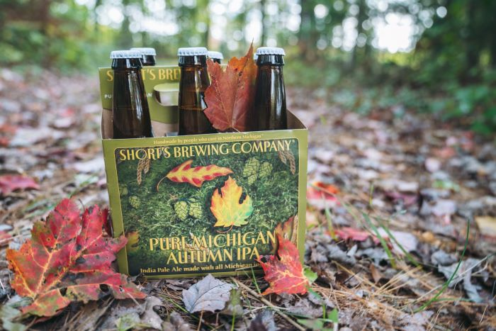 Six pack of the Pure Michigan Autumn IPA in the woods