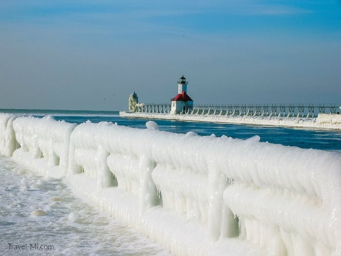 The icy St Joseph Lighthouse