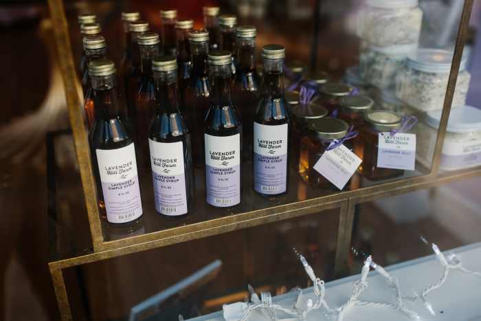 Lavender inspired products on display in shop.