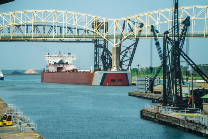 A freighter traveling through the Soo Locks.